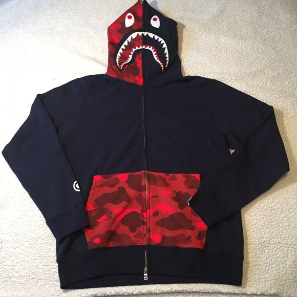 ac9c56da Bape Shirts | Large Red Half Pocket Shark Hoodie | Poshmark